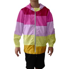 Red Orange Yellow Pink Sunny Color Combo Striped Pattern Stripes Hooded Wind Breaker (kids)