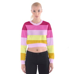 Red Orange Yellow Pink Sunny Color Combo Striped Pattern Stripes Cropped Sweatshirt