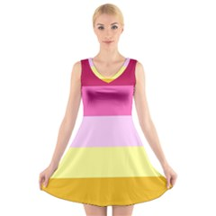 Red Orange Yellow Pink Sunny Color Combo Striped Pattern Stripes V Neck Sleeveless Dress