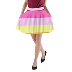 Red Orange Yellow Pink Sunny Color Combo Striped Pattern Stripes A Line Pocket Skirt