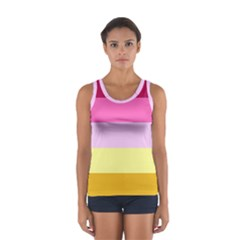 Red Orange Yellow Pink Sunny Color Combo Striped Pattern Stripes Sport Tank Top