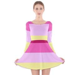 Red Orange Yellow Pink Sunny Color Combo Striped Pattern Stripes Long Sleeve Velvet Skater Dress