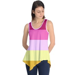 Red Orange Yellow Pink Sunny Color Combo Striped Pattern Stripes Sleeveless Tunic