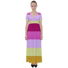 Red Orange Yellow Pink Sunny Color Combo Striped Pattern Stripes High Waist Short Sleeve Maxi Dress