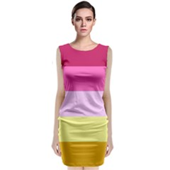 Red Orange Yellow Pink Sunny Color Combo Striped Pattern Stripes Classic Sleeveless Midi Dress
