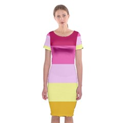 Red Orange Yellow Pink Sunny Color Combo Striped Pattern Stripes Classic Short Sleeve Midi Dress