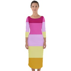 Red Orange Yellow Pink Sunny Color Combo Striped Pattern Stripes Quarter Sleeve Midi Bodycon Dress