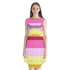 Red Orange Yellow Pink Sunny Color Combo Striped Pattern Stripes Sleeveless Chiffon Dress