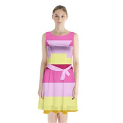 Red Orange Yellow Pink Sunny Color Combo Striped Pattern Stripes Sleeveless Waist Tie Chiffon Dress