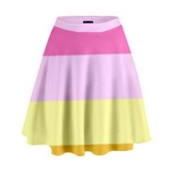 Red Orange Yellow Pink Sunny Color Combo Striped Pattern Stripes High Waist Skirt