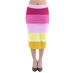 Red Orange Yellow Pink Sunny Color Combo Striped Pattern Stripes Midi Pencil Skirt