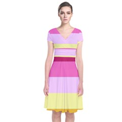 Red Orange Yellow Pink Sunny Color Combo Striped Pattern Stripes Short Sleeve Front Wrap Dress