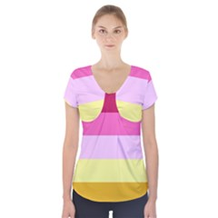 Red Orange Yellow Pink Sunny Color Combo Striped Pattern Stripes Short Sleeve Front Detail Top