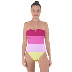 Red Orange Yellow Pink Sunny Color Combo Striped Pattern Stripes Tie Back One Piece Swimsuit