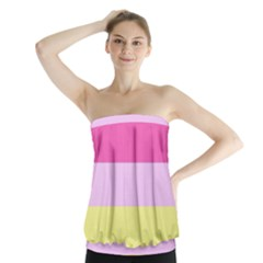Red Orange Yellow Pink Sunny Color Combo Striped Pattern Stripes Strapless Top