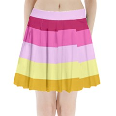Red Orange Yellow Pink Sunny Color Combo Striped Pattern Stripes Pleated Mini Skirt