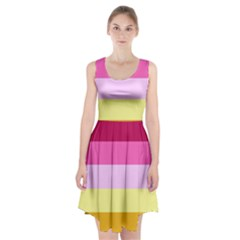 Red Orange Yellow Pink Sunny Color Combo Striped Pattern Stripes Racerback Midi Dress