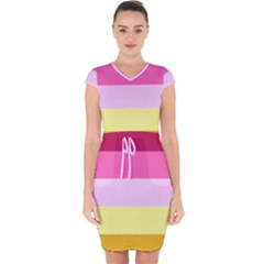 Red Orange Yellow Pink Sunny Color Combo Striped Pattern Stripes Capsleeve Drawstring Dress