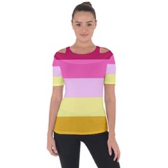 Red Orange Yellow Pink Sunny Color Combo Striped Pattern Stripes Short Sleeve Top