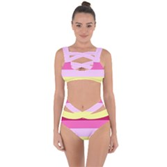 Red Orange Yellow Pink Sunny Color Combo Striped Pattern Stripes Bandaged Up Bikini Set