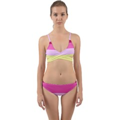 Red Orange Yellow Pink Sunny Color Combo Striped Pattern Stripes Wrap Around Bikini Set