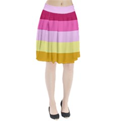 Red Orange Yellow Pink Sunny Color Combo Striped Pattern Stripes Pleated Skirt