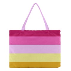 Red Orange Yellow Pink Sunny Color Combo Striped Pattern Stripes Medium Tote Bag