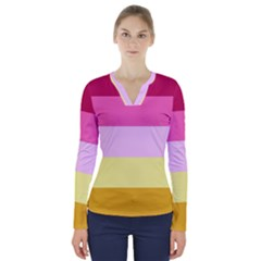 Red Orange Yellow Pink Sunny Color Combo Striped Pattern Stripes V Neck Long Sleeve Top