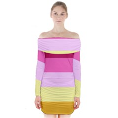 Red Orange Yellow Pink Sunny Color Combo Striped Pattern Stripes Long Sleeve Off Shoulder Dress