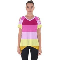 Red Orange Yellow Pink Sunny Color Combo Striped Pattern Stripes Cut Out Side Drop Tee