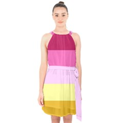 Red Orange Yellow Pink Sunny Color Combo Striped Pattern Stripes Halter Collar Waist Tie Chiffon Dress