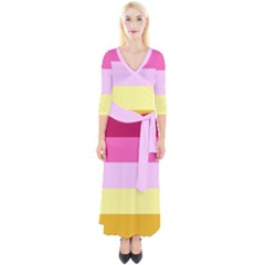 Red Orange Yellow Pink Sunny Color Combo Striped Pattern Stripes Quarter Sleeve Wrap Maxi Dress