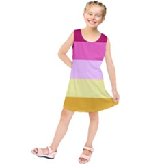 Red Orange Yellow Pink Sunny Color Combo Striped Pattern Stripes Kids  Tunic Dress