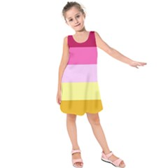 Red Orange Yellow Pink Sunny Color Combo Striped Pattern Stripes Kids  Sleeveless Dress