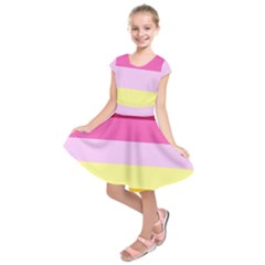 Red Orange Yellow Pink Sunny Color Combo Striped Pattern Stripes Kids  Short Sleeve Dress