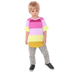 Red Orange Yellow Pink Sunny Color Combo Striped Pattern Stripes Kids Raglan Tee