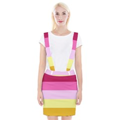Red Orange Yellow Pink Sunny Color Combo Striped Pattern Stripes Braces Suspender Skirt