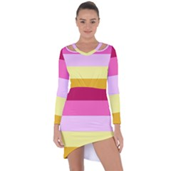 Red Orange Yellow Pink Sunny Color Combo Striped Pattern Stripes Asymmetric Cut Out Shift Dress