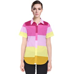 Red Orange Yellow Pink Sunny Color Combo Striped Pattern Stripes Women s Short Sleeve Shirt