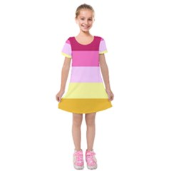 Red Orange Yellow Pink Sunny Color Combo Striped Pattern Stripes Kids  Short Sleeve Velvet Dress