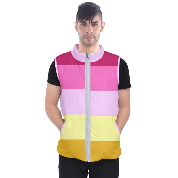 Red Orange Yellow Pink Sunny Color Combo Striped Pattern Stripes Men s Puffer Vest