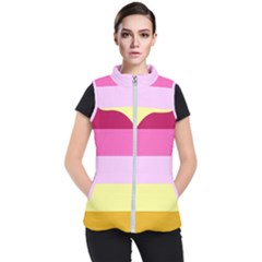 Red Orange Yellow Pink Sunny Color Combo Striped Pattern Stripes Women s Puffer Vest