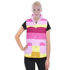 Red Orange Yellow Pink Sunny Color Combo Striped Pattern Stripes Women s Button Up Vest