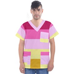 Red Orange Yellow Pink Sunny Color Combo Striped Pattern Stripes Men s V Neck Scrub Top