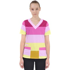 Red Orange Yellow Pink Sunny Color Combo Striped Pattern Stripes Scrub Top