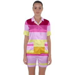 Red Orange Yellow Pink Sunny Color Combo Striped Pattern Stripes Satin Short Sleeve Pyjamas Set
