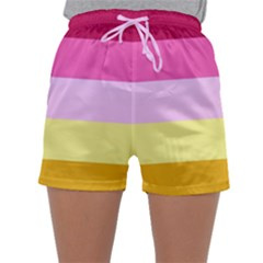 Red Orange Yellow Pink Sunny Color Combo Striped Pattern Stripes Sleepwear Shorts