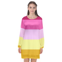 Red Orange Yellow Pink Sunny Color Combo Striped Pattern Stripes Long Sleeve Chiffon Shift Dress