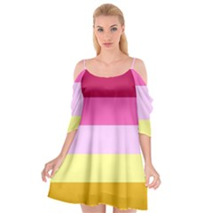 Red Orange Yellow Pink Sunny Color Combo Striped Pattern Stripes Cutout Spaghetti Strap Chiffon Dress