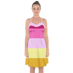 Red Orange Yellow Pink Sunny Color Combo Striped Pattern Stripes Ruffle Detail Chiffon Dress